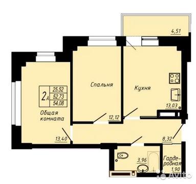 2-к квартира, 55 м, 8/22 эт. - Фото 1