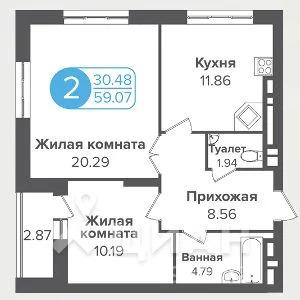 2-к кв. Новосибирская область, Новосибирск ул. Семьи Шамшиных (59.0 м)