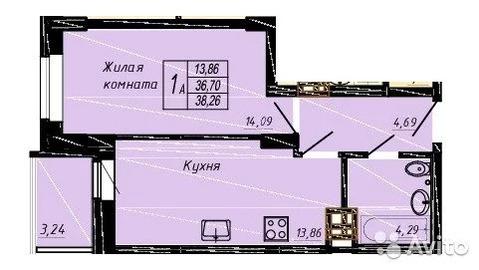 1-к квартира, 39 м, 4/24 эт. - Фото 1