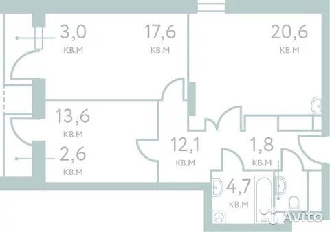 2-к квартира, 70.4 м, 13/21 эт. - Фото 1