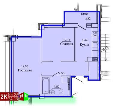 2 843 127 Руб., Продажа двухкомнатная квартира 55.26м2 в ЖК Рудный секция 1.3, Купить квартиру в Екатеринбурге по недорогой цене, ID объекта - 315127571 - Фото 1