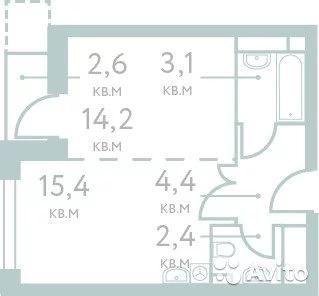 1-к квартира, 39.5 м, 7/20 эт. - Фото 1