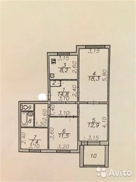 4-к квартира, 80.4 м, 1/5 эт. - Фото 1