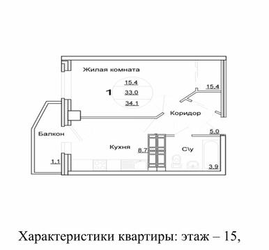 """1-комнатная квартира в ЖК """"Вершина"""". 34.1 м2 - Фото 3"""