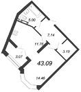 Продажа 1-комнатной квартиры, 43.09 м2 - Фото 2