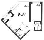 Продажа 2-комнатной квартиры, 54.84 м2 - Фото 1