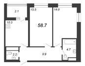 Продажа 2-комнатной квартиры, 58.7 м2 - Фото 1